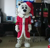 Christmas White Bear Mascot Costume Suits Cosplay Party Game Dress Outfits Ad