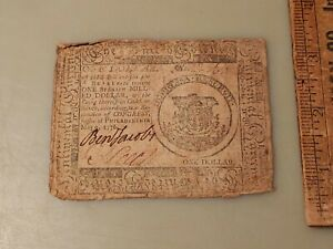 1776 Colonial Continental Currency One Dollar