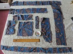 9 Pieces Of French Antique Hand Blocked & Resist Indigo Cotton Fabric c1810
