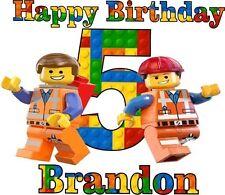 Personalized Birthday Shirt Lego Emmett Happy Birthday Shirt in Lego Print 124