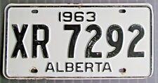 Alberta 1963 License Plate # XR 7292