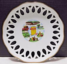 INDIANA Souvenir Plate Reticulated Edge HOOSIER STATE Speedway at Indianapolis