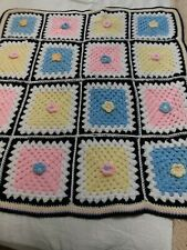 Vintage Hand Crochet Granny Square Baby Afghan- 3D Flowers- Pink, Blue, Yellow