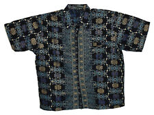 New Men Fashion Indonesian Batik Short Sleeve Shirt Size XL