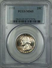 1952 Washington Silver Quarter 25c Coin PCGS MS-65 Toned Gem