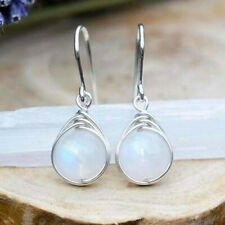 Fashion 925 Silver Drop Earrings for Women Jewelry Moonstone Free Shipping
