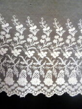 "Antique 19th Century Hand Embroidered Floral Net Lace Piece 13"" x 29"""
