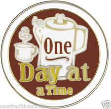 ONE DAY AT A TIME COFFEE POT 12 Step Recovery Program Enameled Medallion