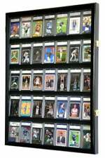 35 Graded Sport Cards / Collectible Card Display Case Wall Cabinet 98% UV Locks