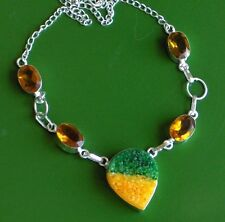 "LEMON LIME DRUZY, CITRINE SOLID 925 FANCY LOOK 19"" NECKLACE, JUST DON'T EAT TI!"