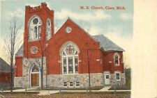 Clare Michigan~Methodist Episcopal Church~Carriage Stone~1908 Postcard