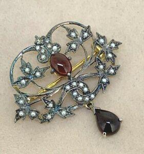 Brosche Granat, Diamant & Saat-Perle   Gold & Silber
