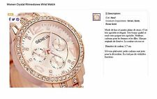 BIJOUX : B318 MONTRE FEMME - Women Crystal Rhinestones Wrist Watch (ROSE GOLD)