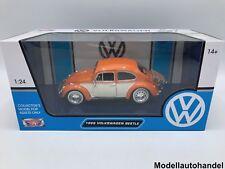 VW Käfer - orange/beige mit Heckgepäckträger - 1:24 MotorMax >>NEW<<