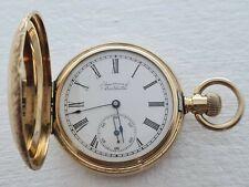 Antique 1903 Waltham Full Hunter 14K Solid  Gold+ Diamond  Pocket Watch Rare VGC
