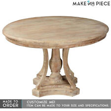 MADE TO ORDER SOLID MANGO Wood 120CM Round Dining Table Lounge Whitewash
