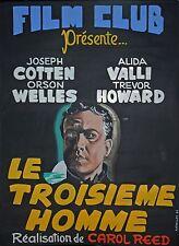 LE TROISIEME HOMME(1949)-AFFICHE GOUACHEE-A.RUELLAN-1964 -UNIQUE-RARE-O.WELLES