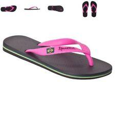 Ipanema Brazil women's classic Brazilian beach thong flip flops Black/ Pink New