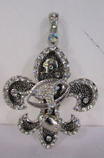 Women silver metal scarf necklace pendant charm fleur de lis bull football Lily