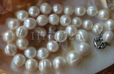 Beautiful 11-12MM WHITE south sea baroque PEARL NECKLACE 18""