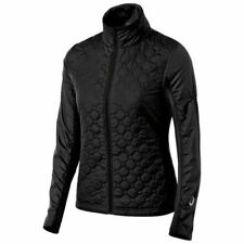 Asics THERMO WINDBLOCKER Womens Zip Front Quilted Jacket Size Medium Black NEW