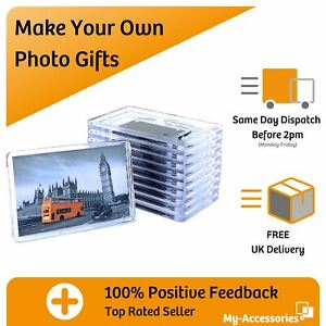 Photo Fridge Magnet Picture Frame Clear Acrylic Insert Your Own Image DIY Gift