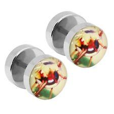 2 Rockabilly Fake Plugs Ohrstecker Tunnel Piercing Ohrring Logo Frau Edelstahl