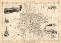 Old Vintage Antique Edinburgh Scotland decorative map Tallis ca. 1851