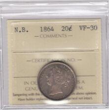 1864 New Brunswick  Silver Twenty Cents - ICCS VF-30
