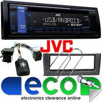 Fiat Grande Punto JVC Car Stereo CD MP3 USB & Steering Wheel Interface Kit Grey