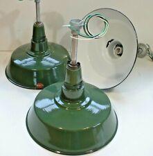 """(3) Vtg 18"""" Porcelain Industrial Green Barn Ceiling Pendant Multi Light B's"""