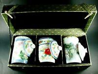 VINTAGE Japanese 3 Cup Porcelain Tea Set With Wooden Display/Storage Box