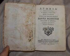 Storia della vita e .. Santo Agostino Libro IV parte II Brescia 1776 Berlendi BB