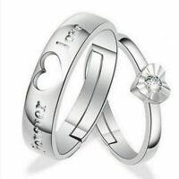 1 paar Liebhaber Romantische Herz Kristall Paar Ringe Seine Ring Verspreche U2P3