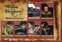 Nevis William Shakespeare Stamps 2016 MNH Writers Famous People Blake Art 6v M/S