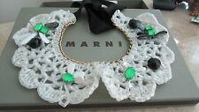 MARNI Runway Crochet Collars Faced Stones  Necklace . Made in Italy.