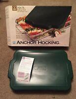 """New Anchor Hocking 9.5 x 13.5 x 2""""-3 QT Glass Baking Dish w/ Green Lid (69234-T)"""