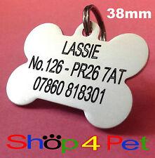 Dog ID Tag 38mm Medium Aluminium PET Tags Engraved Free with Blackened Engraving