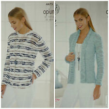 KNITTING PATTERN Womens Long Sleeve Striped Jumper & Plain Cardigan Opium 4475