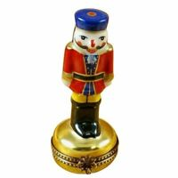Nutcracker Red On Gold Base Blue Hat Limoges Porcelain Box Figurine