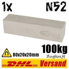 Neodym Magnet Quader 80x20x20mm 8x2x2cm 100kg stark Blockmagnet Powermagnet N52