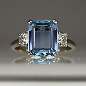 White Round Diamond and Sky Blue Topaz Emerald Cut Ring 935 Solid Silver Size 5