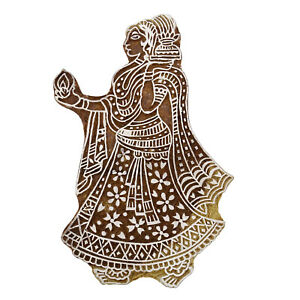 Stamp Indian Wooden Brown Textile Stamps Wood Printing Block Decorative-Lva