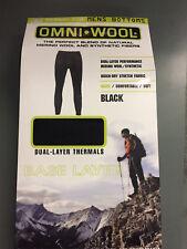 NIB Mens OMNI * WOOL Black Bottoms Base Layer Thermal Pants Size 2XL XXL