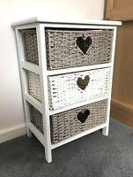 Grey White Storage Cabinet Bathroom Wicker Baskets Nightstand Shabby Chic Drawer