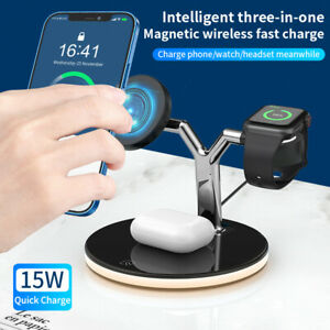 3-in-1 Wireless Charger Dock Station For Apple Watch iPhone 12 Air pods MagSafe
