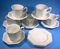 6 Johnson Brothers Heritage White Tea Cup and Saucer Sets and 2 Bread & Butters