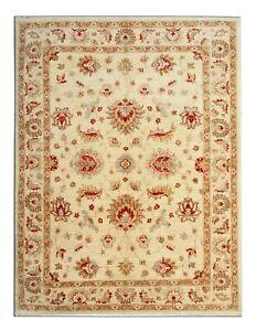 Cream Rug Wool Oriental Handmade Floral Carpet Area Rug 176x228cm