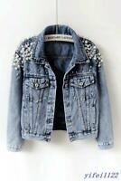 2019 Womens Washed Old Blue Pearls Denim Jacket Casual Jean Short Slim Fit Coats