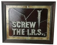 Vintage Wall Art SCREW THE I.R.S Screw Square Stained Glass Office Decor 15x12